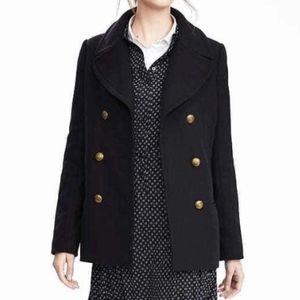 Banana Republic Navy Wool Melton Pea Coat